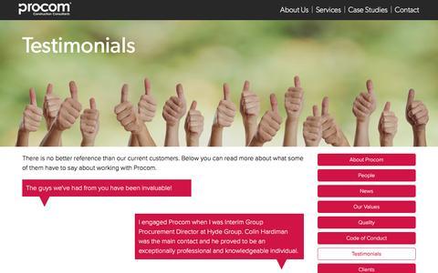Screenshot of Testimonials Page procom-uk.com - Procom - Testimonials - captured Nov. 13, 2016