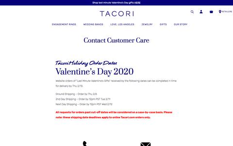 Screenshot of Contact Page tacori.com - Contact Us - captured Feb. 8, 2020