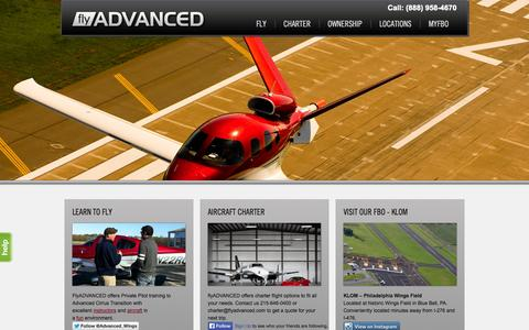 Screenshot of Home Page flyadvanced.com - Flight Training | Aircraft Ownership | Aircraft Charter - captured Sept. 30, 2014