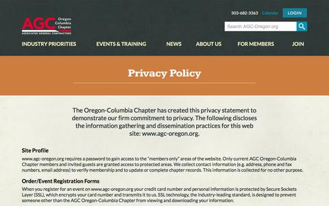 Screenshot of Privacy Page agc-oregon.org - Privacy Policy - AGC - captured Oct. 9, 2017