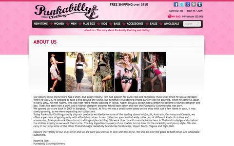 Screenshot of About Page punkabillyclothing.com - ABOUT US : Rockabilly Clothing | Pin up Clothing | Vintage & Retro Online shop - captured Sept. 19, 2014