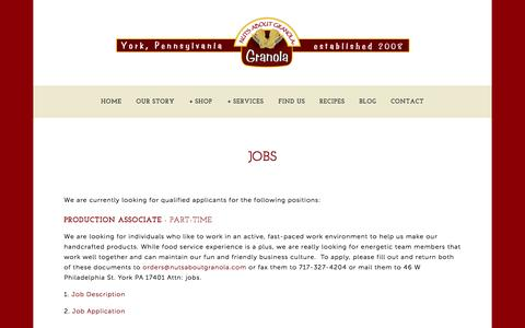 Screenshot of Jobs Page nutsaboutgranola.com - jobs — Nuts About Granola - captured Oct. 7, 2014