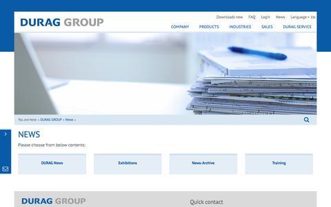 Screenshot of Press Page durag.com - News - durag group - captured Oct. 12, 2017