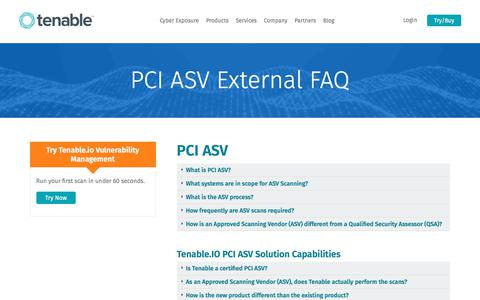 Screenshot of FAQ Page tenable.com - PCI ASV External FAQ | Tenable™ - captured July 25, 2017
