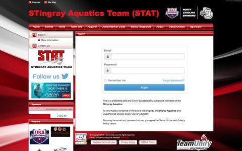 Screenshot of Login Page teamunify.com - Stingray Aquatics : Sign In - captured Dec. 2, 2016