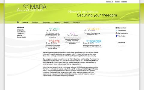 Screenshot of Products Page marasystems.com - Products | MARA Systems - captured Sept. 30, 2014