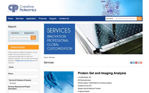 Screenshot of Services Page creative-proteomics.com - Services - Creative Proteomics - captured July 10, 2018