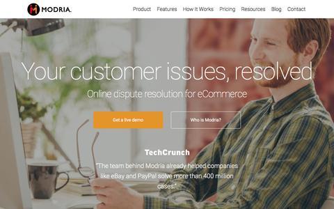 Screenshot of Home Page modria.com - Modria – Fast and fair resolution for Commerce - captured Feb. 14, 2016