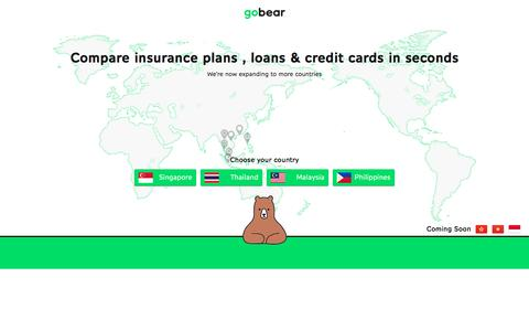 Screenshot of Home Page gobear.com - Compare insurance, credit card or loan in seconds | gobear.com - captured July 14, 2016