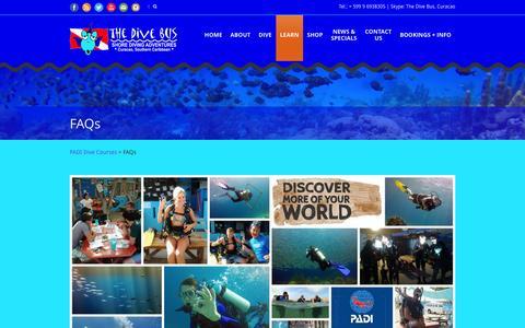 Screenshot of FAQ Page thedivebus.com - The Dive Bus Curaçao  FAQs - The Dive Bus Curaçao - captured Feb. 16, 2016