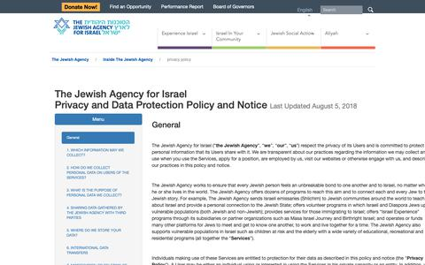 Screenshot of Privacy Page jewishagency.org - privacy policy  | The Jewish Agency - captured Oct. 18, 2018