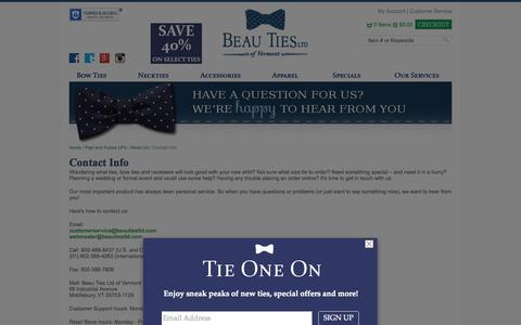 Screenshot of Support Page beautiesltd.com - Beau Ties Ltd of Vermont Contact Info - captured Sept. 24, 2014