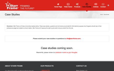 Screenshot of Case Studies Page starrframe.com - Case Studies – The Starr Frame® System - captured Nov. 11, 2017