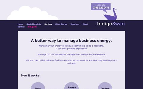 Screenshot of Services Page indigoswan.co.uk - Energy Purchasing Services From Indigo Swan - Energy For Business - captured Oct. 4, 2014