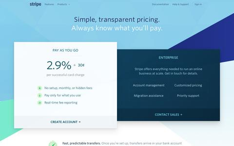 Screenshot of Pricing Page stripe.com - Stripe: Pricing - captured March 12, 2016