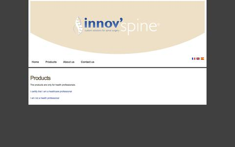 Screenshot of Products Page innovspine.com - innov'spine - Poduits_acces - captured Jan. 9, 2016
