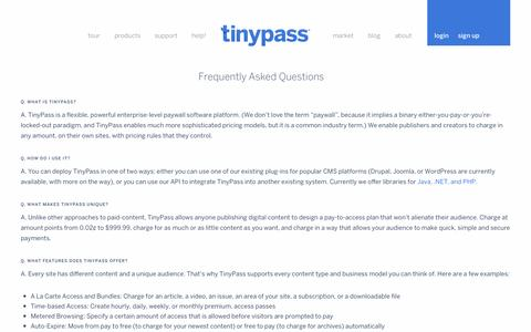 Screenshot of FAQ Page tinypass.com - Frequently Asked Questions — Tinypass - captured Sept. 17, 2014