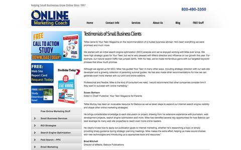 Screenshot of Testimonials Page onlinemarketingcoach.com - Testimonials of Small Business Clients - captured Oct. 9, 2014