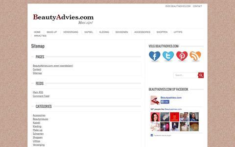 Screenshot of Site Map Page beautyadvies.com - Sitemap - Beautyadvies.com - captured Sept. 23, 2014