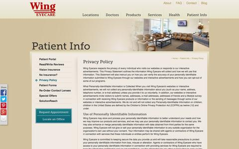 Screenshot of Privacy Page wingeyecare.com - Wing Eyecare | Privacy Policy - captured Oct. 1, 2014