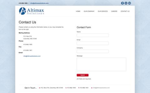 Screenshot of Contact Page altimaxsolutions.com - Altimax Solutions - captured Feb. 5, 2016