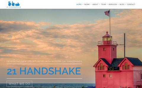 Screenshot of Home Page 21handshake.com - 21 Handshake | Creating new opportunities for businesses built on a handshake. - captured Feb. 24, 2016