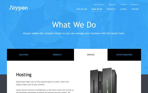 Screenshot of Services Page atypon.com - Services | Atypon Systems, Inc. - captured July 27, 2016