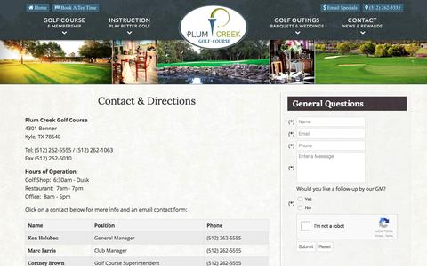 Screenshot of Contact Page Maps & Directions Page plumcreekgolf.com - Plum Creek Golf Course | Public Championship Course | Kyle, TX - Contact & Directions - captured June 13, 2016