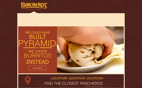 Screenshot of Home Page bobmyburrito.com - Pancheros Mexican Grill - Quick Casual Restaurant - Burritos Better Built.™ - captured Oct. 10, 2015
