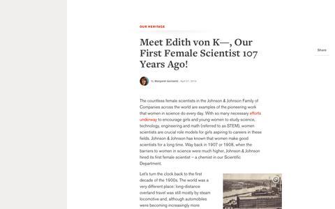 Meet Edith von K—, Our First Female Scientist 107 Years Ago!   Johnson & Johnson