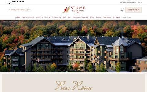 Screenshot of Press Page destinationhotels.com - Hotels in Stowe | Stowe Mountain Lodge - Press Room | Vermont Luxury Resorts - captured Nov. 8, 2017