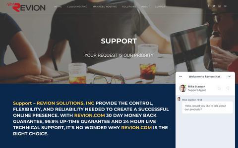 Screenshot of Support Page revion.com - Support - Revion .com - Managed Cloud Hosting Provider - captured Sept. 30, 2018