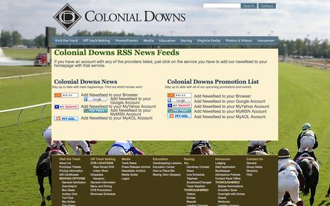 Screenshot of Press Page colonialdowns.com - Colonial Downs RSS News Feeds - captured Sept. 30, 2014