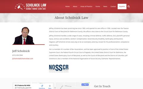 Screenshot of About Page scholnicklaw.com - About | Scholnick Law - captured Oct. 18, 2018