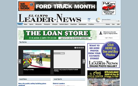 Screenshot of Home Page leader-news.com - Leader News: TownNews.com Zen Style for BloxCMS - captured Oct. 2, 2014
