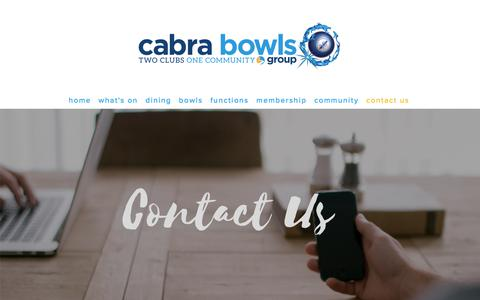 Screenshot of Contact Page cabrabowls.com.au - Contact Us — Cabra Bowls Group - captured July 15, 2018