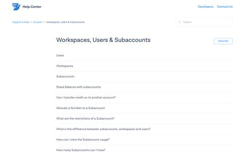 Workspaces, Users & Subaccounts – Support & Help