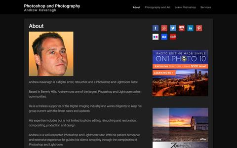 Screenshot of About Page andrewkavanagh.com - About | Andrew Kavanagh | Photoshop and Photography - captured Jan. 28, 2016