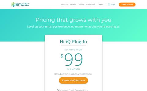 Screenshot of Pricing Page ematicsolutions.com - Pricing - captured July 18, 2018