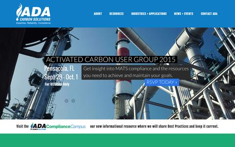 Screenshot of Home Page ada-cs.com - ADA Carbon Solutions | Activated Carbon for Mercury Removal - captured Aug. 6, 2015
