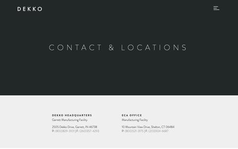 Screenshot of Contact Page dekko.com - Dekko - captured June 14, 2019