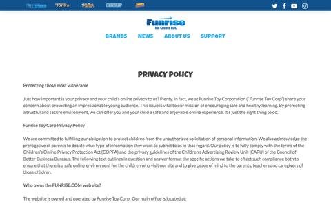 Screenshot of Privacy Page funrise.com - Privacy Policy - Funrise - captured Sept. 24, 2018
