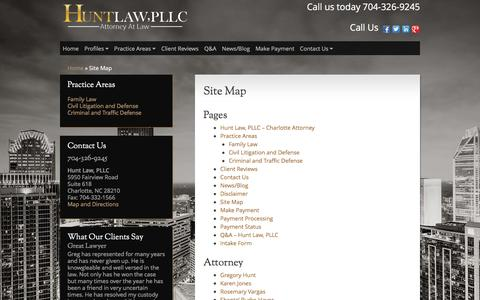 Screenshot of Site Map Page ghuntlaw.com - Site Map - Hunt Law, PLLC - captured Feb. 2, 2016
