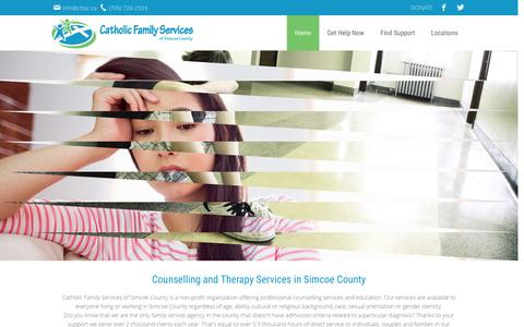 Screenshot of Home Page cfssc.ca - Counselling & Therapy Services - Catholic Family Services Simcoe  | Catholic Family Services of Simcoe County - captured Oct. 26, 2016