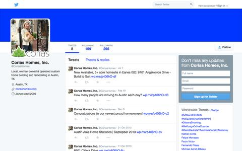 Screenshot of Twitter Page twitter.com - Corias Homes, Inc. (@CoriasHomes) | Twitter - captured Oct. 22, 2014
