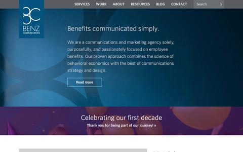 Screenshot of Home Page benzcommunications.com - Benz Communications - captured July 26, 2016