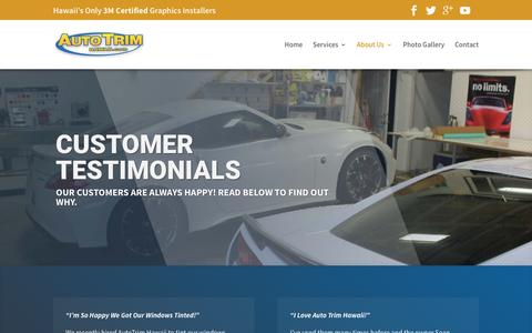 Screenshot of Testimonials Page autotrimhawaii.com - Customer Testimonials | Auto Trim Hawaii - captured July 27, 2016