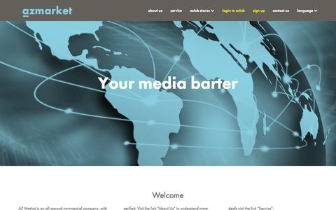 Screenshot of Home Page azmarket.biz - AZMarket - Your international media barter - captured Jan. 28, 2015