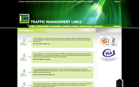 Screenshot of Testimonials Page tmltm.co.uk - Stop / Go Systems Lincolnshire   Road Traffic Design Lincolnshire - captured Oct. 6, 2014