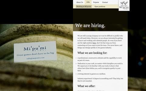 Screenshot of Jobs Page mipumi.com - Mi'pu'mi Games - Jobs - captured Oct. 27, 2014